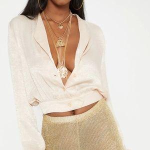 Cropped Satin blouse